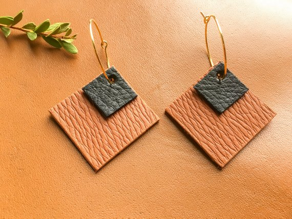 abec7c8d659bc2 Geometric Leather Earrings | Shop Local
